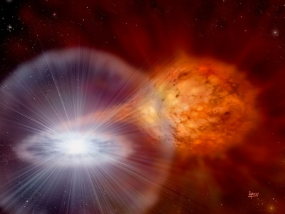 Artistic impression of the explosion of the recurrent nova RS Oph (Credit: David A. Hardy).