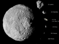 Compilation of asteroid images obtained from space probes (By NASA/JPL-Caltech/JAXA/ESA [Public domain], via Wikimedia Commons)